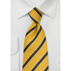 Regimental Stripe Kids Tie in  Yellow and Navy