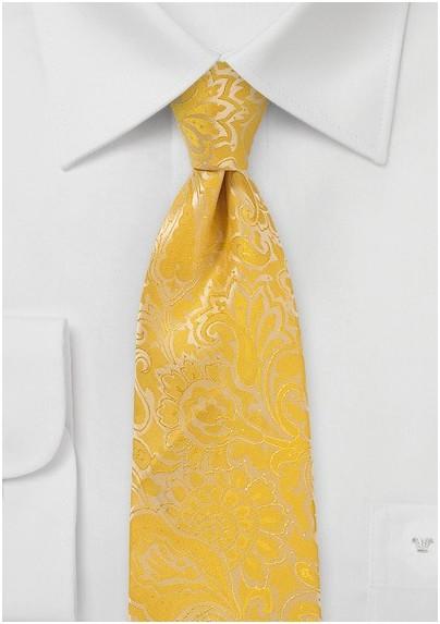XL Length Paisley Tie in Lemon Yellow