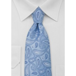 Light Blue Paisley Tie in Long Length