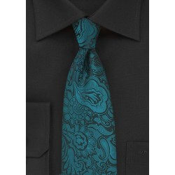 Kids Size Paisley Tie in Peacock Teal