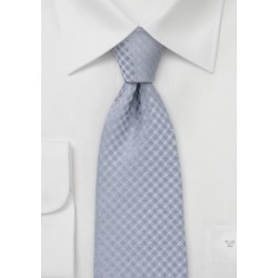 Extra Long Gingham Check Tie in Silver