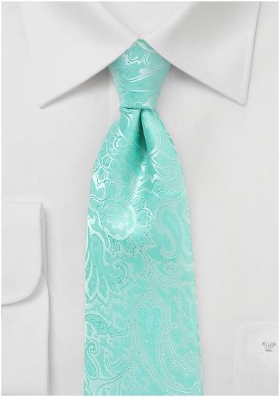 Glacier Blue Tie with Paisleys in XL Length