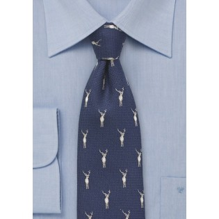 Navy Wool Tie with Woven Stags Pattern