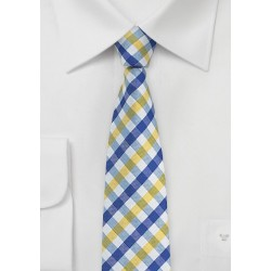 Gingham Tie in Bright Yellow and Light Blue