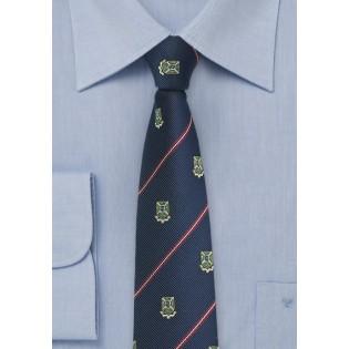 Repp Stripe Tie in Navy with Crests