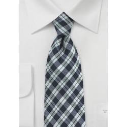 Gingham Wool Tie in Midnight Blue