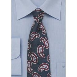 Navy Paisley Silk Tie