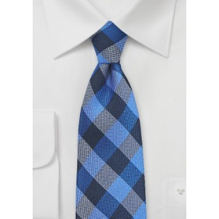 Horizon Blue and Navy Gingham Tie