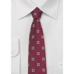 Retro Skinny Tie Wine Red