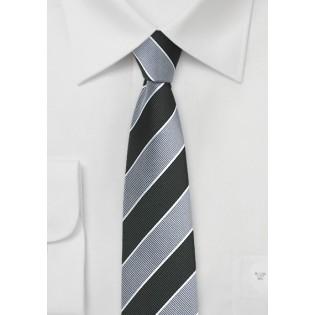 Repp Stripe Skinny Tie in Silver and Black