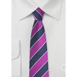 Preppy Skinny Striped Tie in Grape and Navy