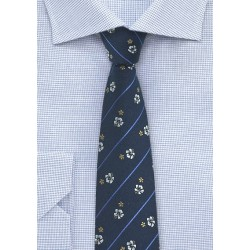 Pencil Striped Tie with Floral Print