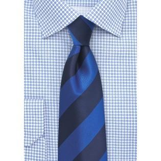 Bold Blue Repp Striped Tie