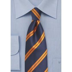 Modern Repp Tie in Blue and Orange
