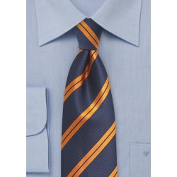 Modern Repp Tie in Blue and Orange