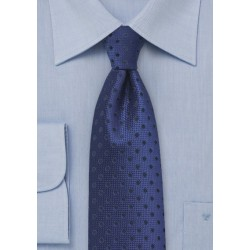 Dark Blue Necktie with Navy Polka Dots