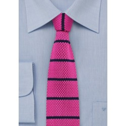 Hot Pink and Navy Striped Knit Tie