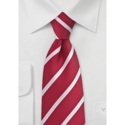 Bright Red and Silver Repp Striped Kids Tie