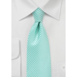 Micro Check Tie for Kids in Pool Blue