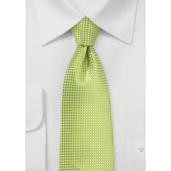 Textured XL Length Tie in Parrot Green