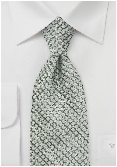 Diamond Pattern XL Length Tie in Mint Green