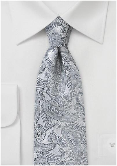 Bright Silver Paisley Silk Tie