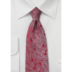 Red Silk Tie with Platinum Silver Paisleys