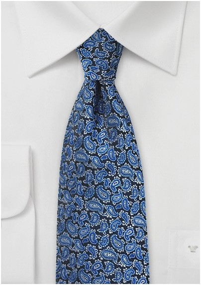 Bright Blue Silk Paisley Tie