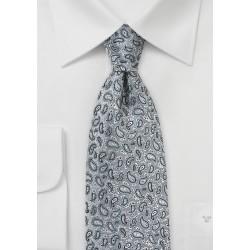Micro Paisley Tie in Dove Gray