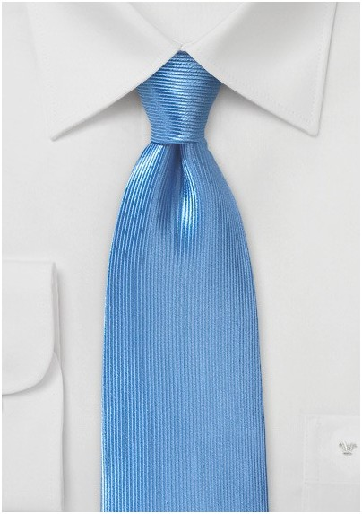 Ribbed Textured Silk Tie in Sky Blue