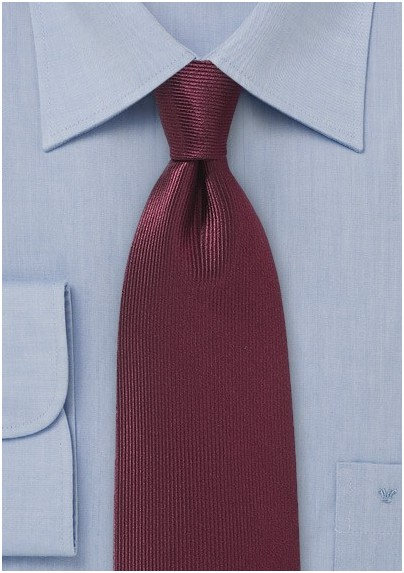 Vertical Ribbed Tie in Oxblood Red
