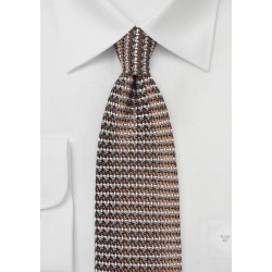 Retro Weave Necktie in Brown and Gray