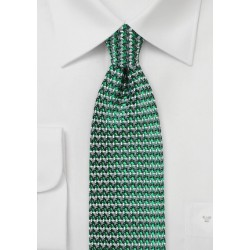 Retro Weave Tie in Green and Gray