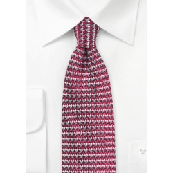 Retro Weave Tie in Red and Gray