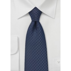 Extra Long Gingham Check Tie in Navy