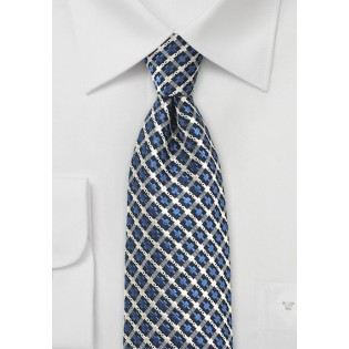 Retro Check Pattern in Blue and Gray