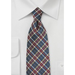 Tartan Plaid Tie in Blue, Red, Gold