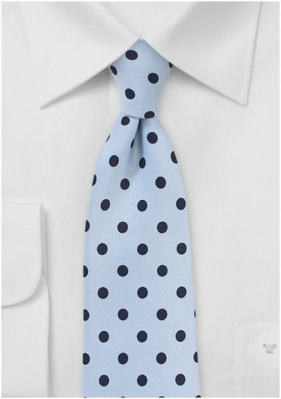 Light Blue Tie with Navy Polka Dots