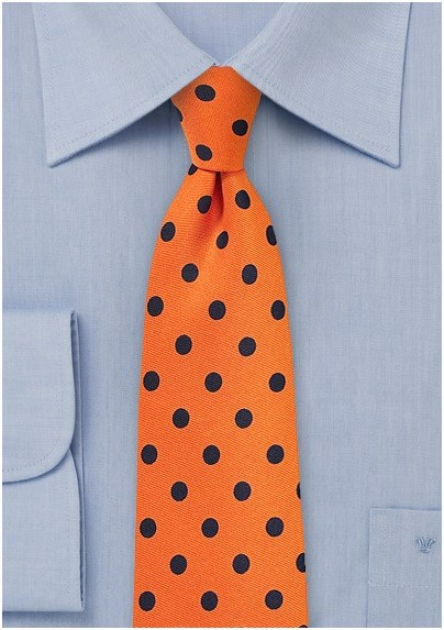 Bright Orange and Navy Polka Dot Tie