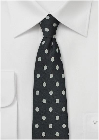 Elegant Black Tie with Silver Dots