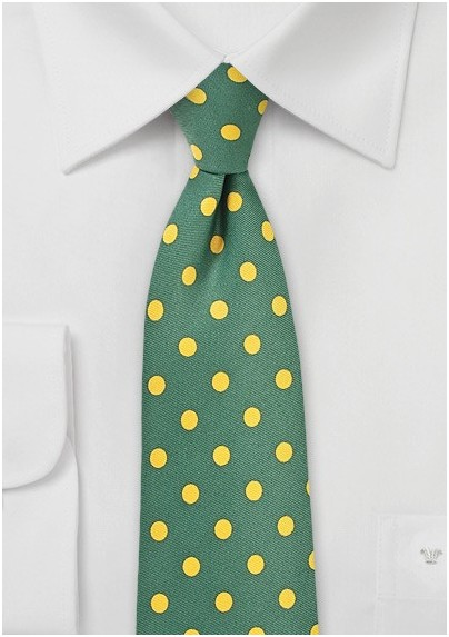 Green Necktie with Bright Yellow Polka Dots