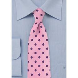 Pink Necktie with Grape Purple Polka Dots