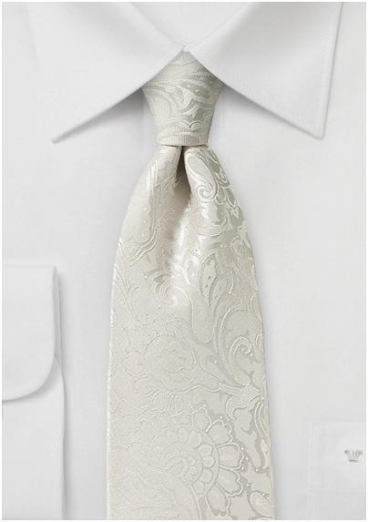 Paisley Necktie in Light Ivory
