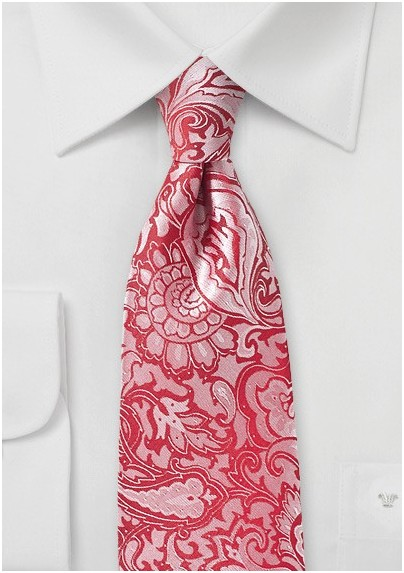 Poppy Red Paisley Necktie