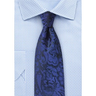 Mens Paisley Tie in Royal Blue