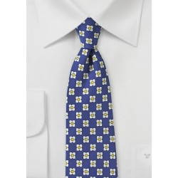 Royal Blue, White, and Yellow Floral Tie