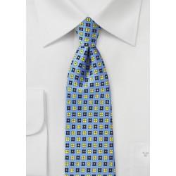 Marina Blue Floral Silk Tie