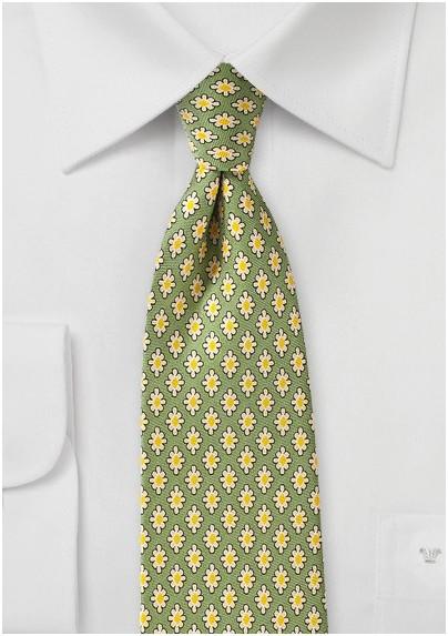Mid Century Modern Print Tie in Sage Green