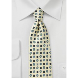 Foulard Silk Tie in Vanilla and Blue