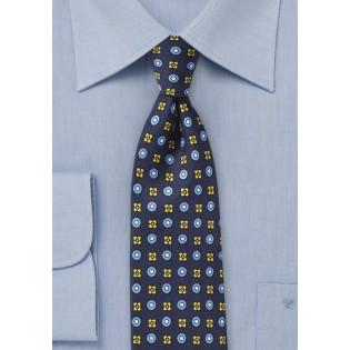 Navy Blue Foulard Silk Tie